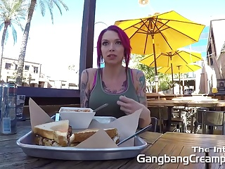 Gangbang Creampie Pink hair girl gets fucked hard