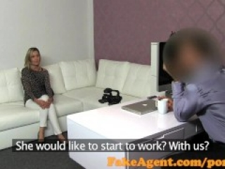 FakeAgent Blonde babe gets spunk shower in casting