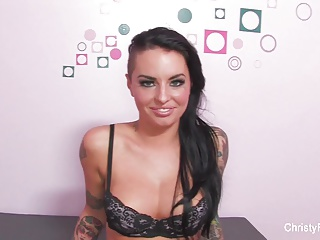 Tattooed hottie Christy gets interviewed and fucked