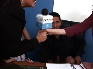 Sexy reporter gets into a fuck orgy after interviewing people