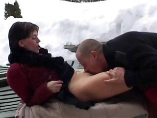 Slim attractive MILF anal fucked in the snow