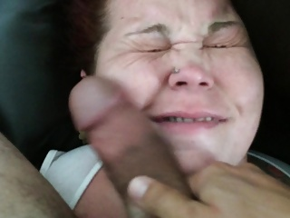 Cum Whore cock slapped on couch with huge messy facial