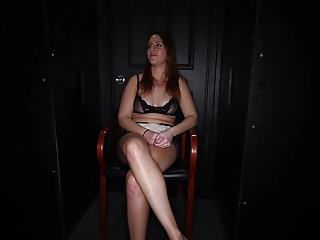 Chubby redhead swallows at the gloryhole