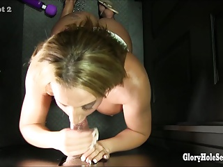 2 BIG BOOTY BABES SUCKS COCK AT THE GLORYHOLE