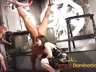 Two lusty playgirls have some kinky fun with a horny stud