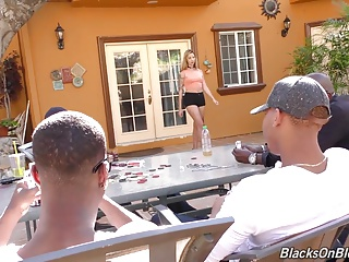 Girl pays her rent with her holes to black guys