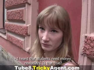 Tricky Agent – A blond student is looking for some cash!