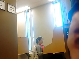 flashing and jerking for asian college teen in library