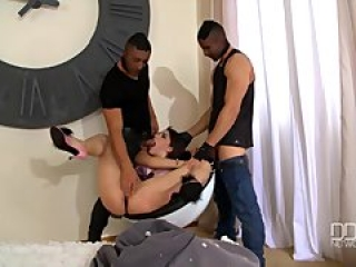 Beautiful Italian girl Valentina Nappi gets double penetrated by two thieve
