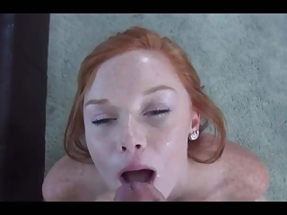 beautiful redhead facial 19