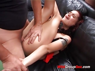 flexi busty german in cum drinking orgy