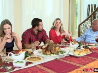 Mom and stepdad bang teen daughter – Naughty Family Thanksgiving!