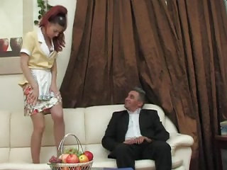 hot maid tidying up
