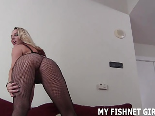 Rub your cock all along my soft fishnet stockings JOI