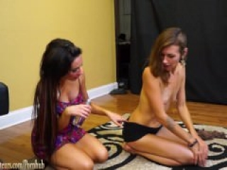 Skinny girl and girlfriend suck cock together and swallow