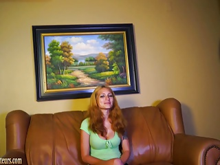 Busty amateur mom gets nude on casting couch