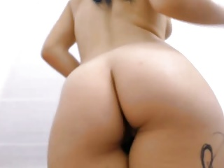Chubby shaved cameltoe pussy rubbed and fucked with dildo