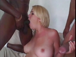 Blonde DP with 2 BBC in her pussy