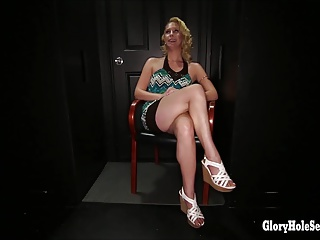 Gloryhole Secrets horny blonde slut loves cum