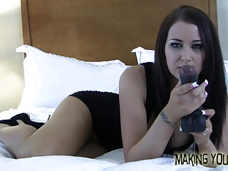 This huge cock is going right down your throat