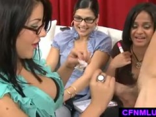 Funny CFNM play with handjob while girls watch