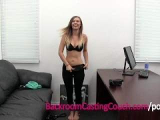 Blonde Waitress Amateur Ass Fucked & Ambush Creampie on Casting Couch
