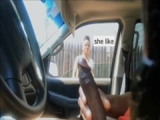 exhib public in car woman watch dick