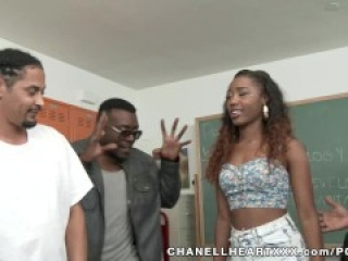 Chanell Heart Is Treated Like The Classroom Slut By Several Big Black Cocks