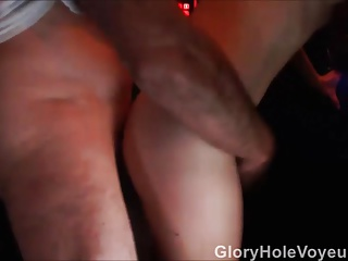 Slut Fucks Two Guys Hidden Gloryhole Cam