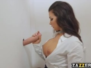 Danny's cock in glory hole sucked by Susy Gala