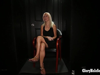 Gloryhole Secrets sexy blonde loves hot cum loads