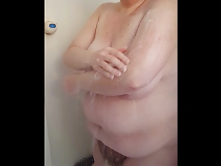 showering & drying her big tits & hairy bush