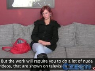 Czech Gorgeous redhead first time with a woman during casting